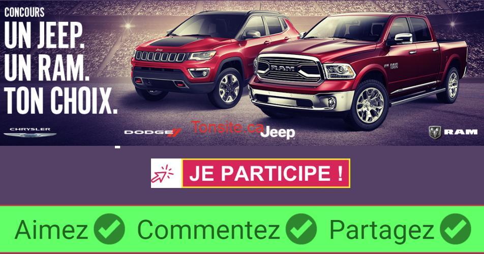 un jeep un ram tonchoix - Participez et gagnez une location de 24 mois d'un Jeep ou d'un Ram