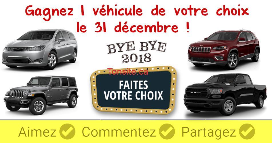 vehicule choix - Concours Radio Canada: Gagnez 1 véhicule de votre choix le 31 décembre 2018