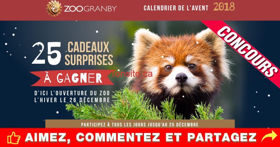 zoo granby concours calendrier - Concours calendrier de l'avent de Zoo Granby: 1 cadeau surprise chaque jour pour 25 jours