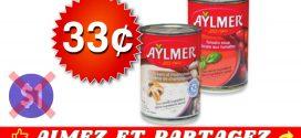 Soupe Aylmer à 33¢ seulement!
