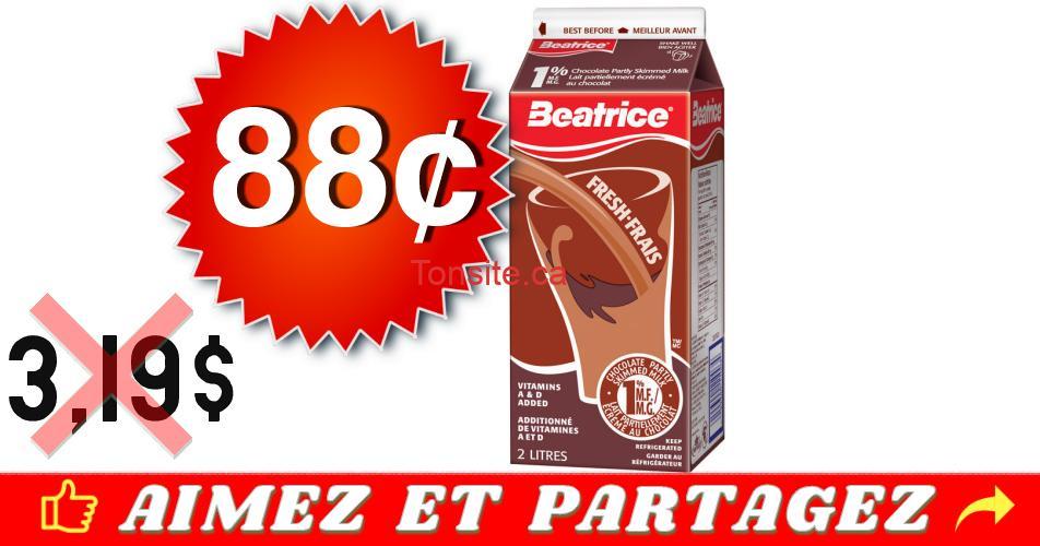 beatrice lait chocolat 88 319 - Lait au chocolat Beatrice (1 L) à 88¢ au lieu de 3,19$