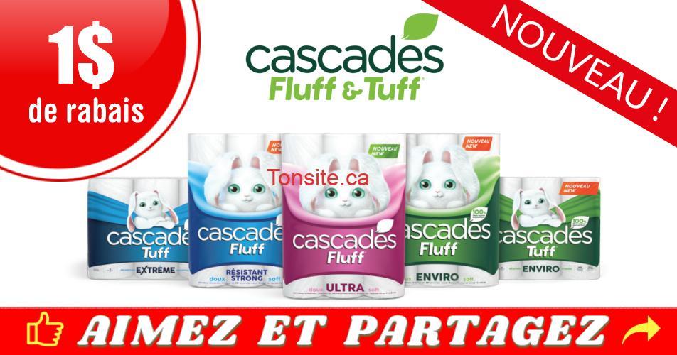 cascades coupon1 2019 - Coupon rabais de 1$ sur tout produit Cascades Fluff ou Cascades Tuff