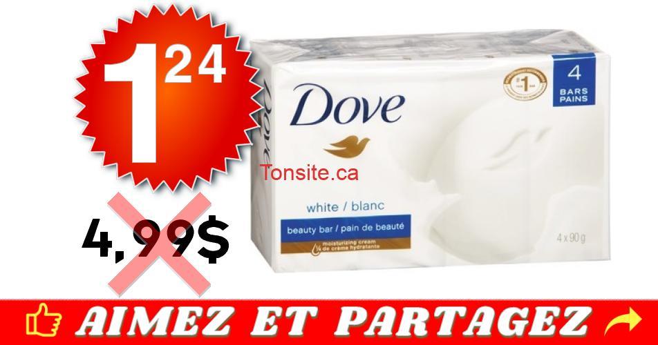 dove pain 124 499 - Emballage de 4 pains de savon Dove à 1,24$ au lieu de 4,99$