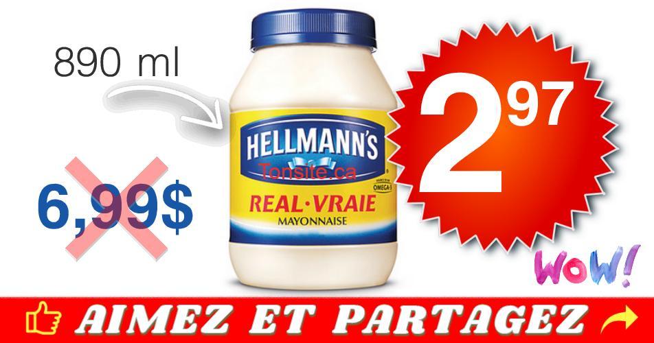 hellmanns 297 699 - Mayonnaise Hellmann's à 2,97$ au lieu de 6,99$ (sans coupon)