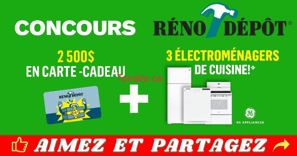 reno depot concours6 - Concours Réno Dépôt: Gagnez une carte-cadeau Reno Depot de 2500$ + 3 électroménagers de cuisine blancs GE