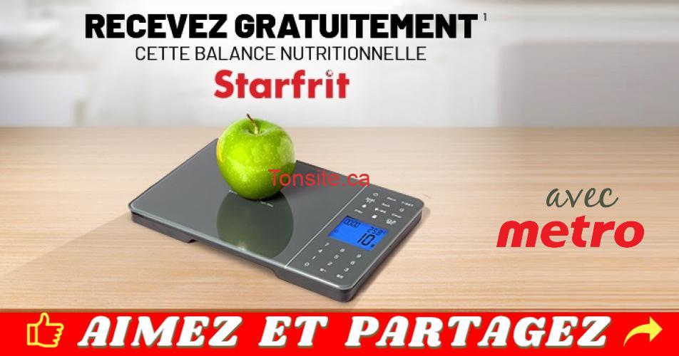 starfrit metro gratuit - Recevez GRATUITEMENT cette balance nutritionnelle Starfrit