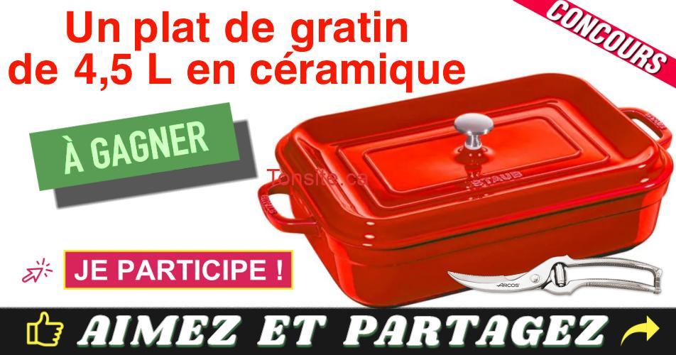 staub plat concours - Gagnez un plat de gratin en céramique avec couvercle de la marque Staub