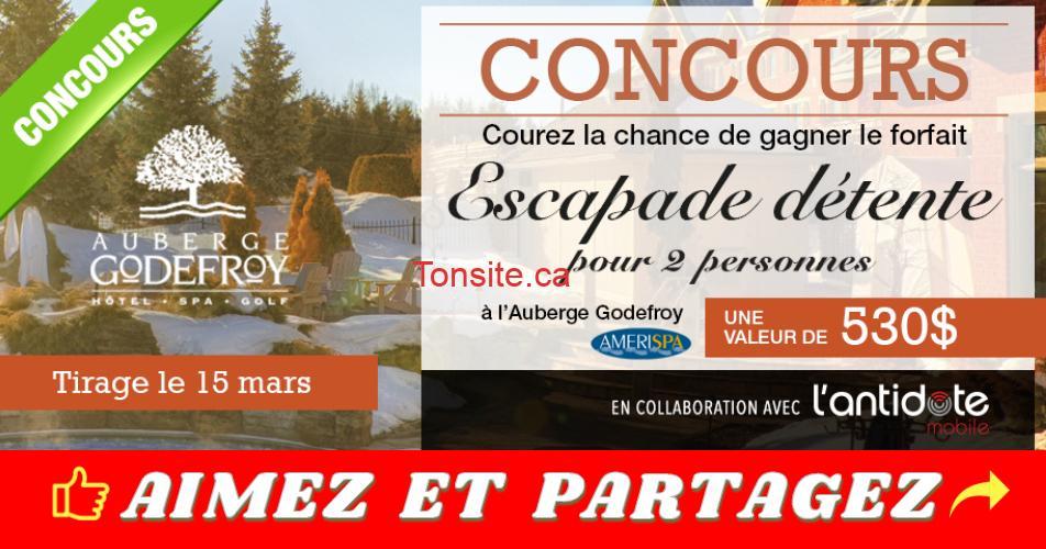 godefroy - Gagnez un forfait Escapade Détente pour 2 personnes à l'Auberge Godefroy (valeur de 530$)