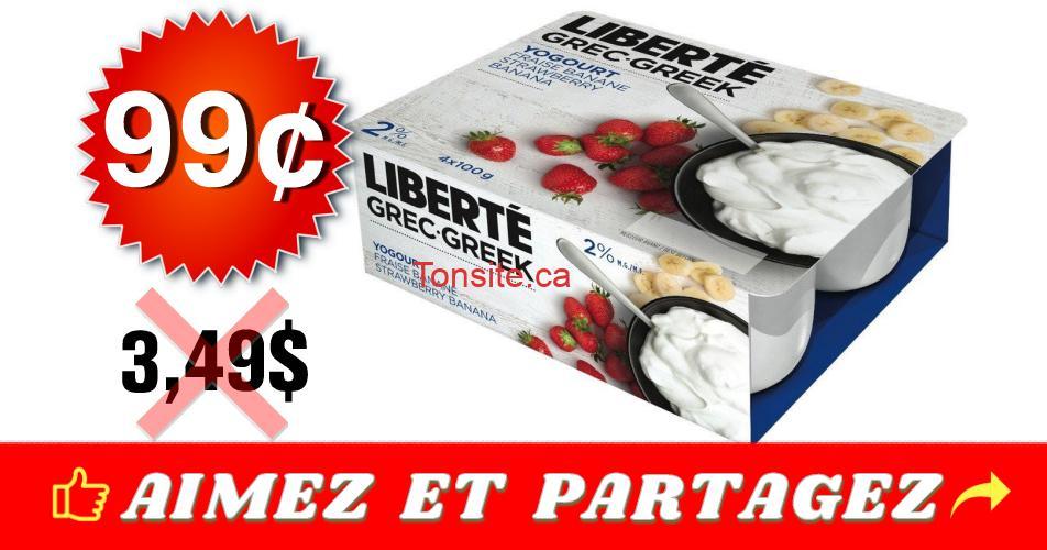 liberte 99 349 - Yogourt Grec Liberté (4x100 g) à 99¢ au lieu de 3,49$
