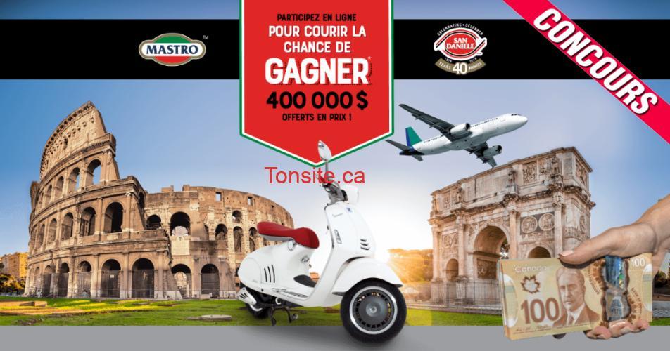 mastro concours - 25 voyages en Italie, 10 scooters Vespa, 95 prix en argent comptant de 1 000 $ à gagner!
