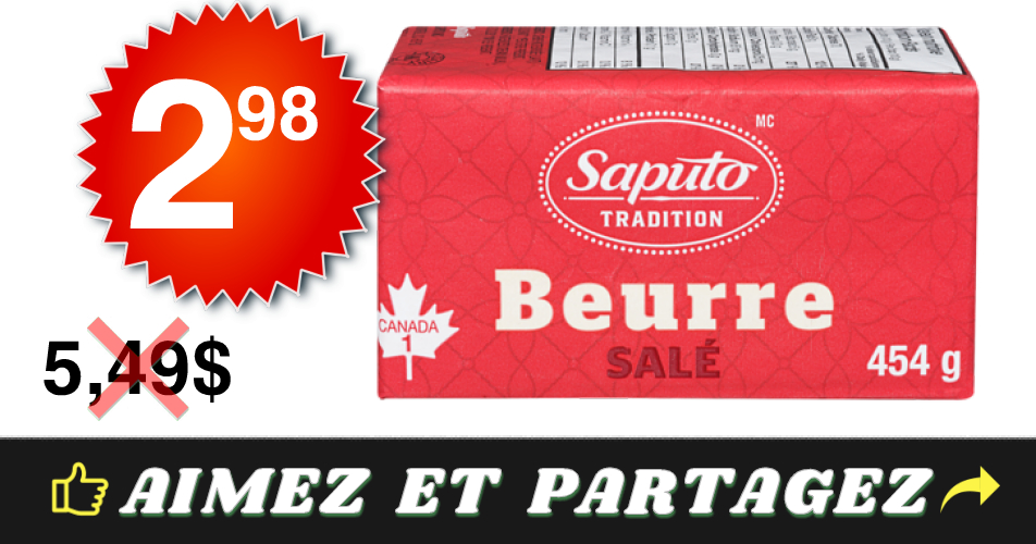 saputo 298 549 - Beurre Saputo (454 g) à 2,98$ au lieu de 5,49$