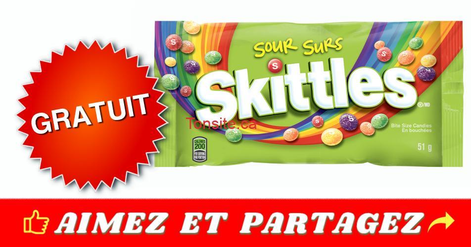 skittles coupon gratuit - Obtenez un paquet gratuit de bonbons Skittles Surs en bouchées (51 g)