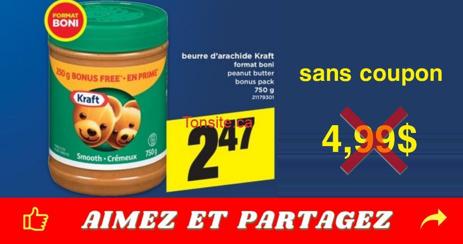 beurre 247 499 sanscoupon - Beurre d'arachide Kraft à 2,47$ au lieu de 4,99$