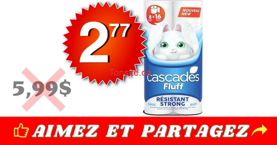 cascades fluff 277 599 - 8 rouleaux doubles de papier hygiénique Cascades Fluff à 2,77$ au lieu de 5,99$
