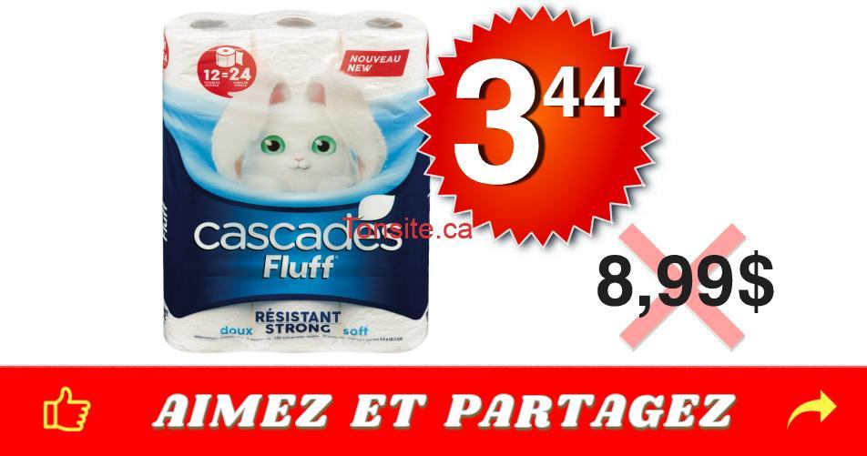 cascades fluff 344 899 - Emballage de 12 rouleaux doubles de papier hygiénique Cascades Fluff à 3,44$ au lieu de 8,99$
