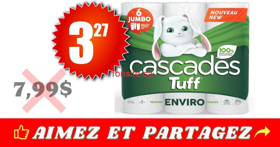 cascades tuff 327 799 - Emballage de 6 rouleaux Jumbo de papier essuie-tout Cascades Tuff à 3,27$ au lieu de 7.99$