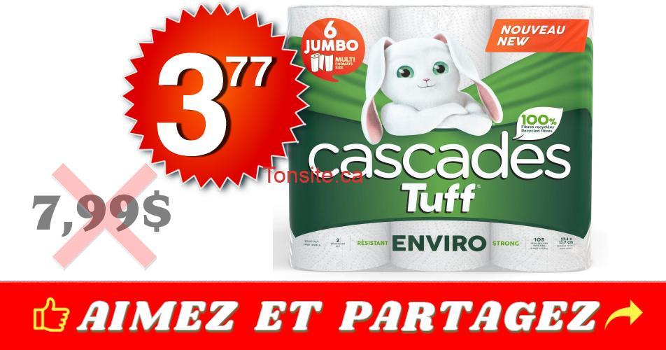 cascades tuff 377 799 - Emballage de 6 rouleaux Jumbo de papier essuie-tout Cascades Tuff à 3,77$ au lieu de 7.99$