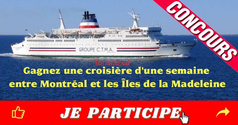 ilesdelamadeleine concours - Gagnez une croisière thématique, Saveurs maritimes, d'une semaine, entre Montréal et les Îles de la Madeleine à bord du CTMA Vacancier