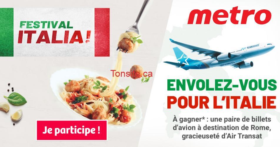 italie metro concours - Concours Metro: Gagnez une paire de billets d'avion à destination de Rome, Italie.