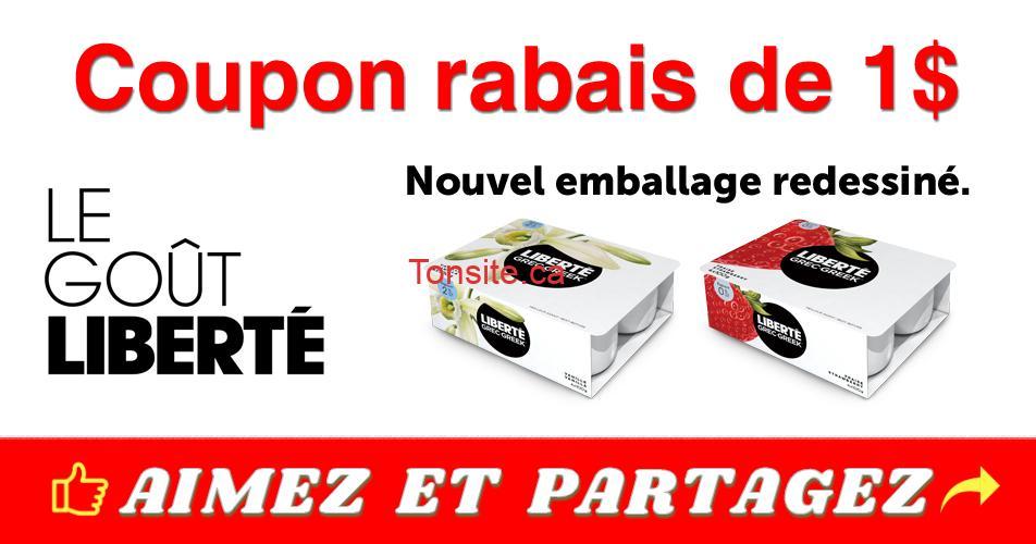 liberte coupon 1 1 - Coupon rabais de 1$ sur un emballage Liberté Grec, format de 4x100g