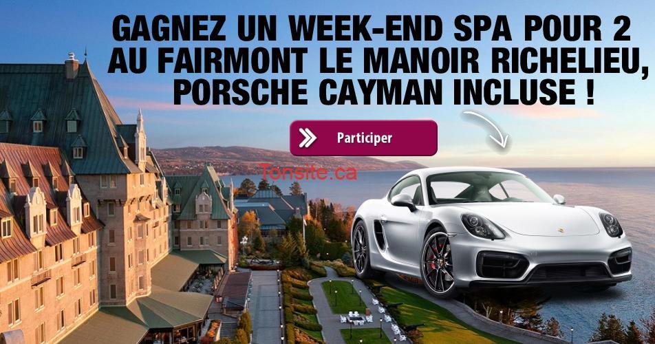 manoir richelieu concours - Gagnez un week-end Spa pour 2 au Fairmont Le Manoir Richelieu, Porsche Cayman incluse!