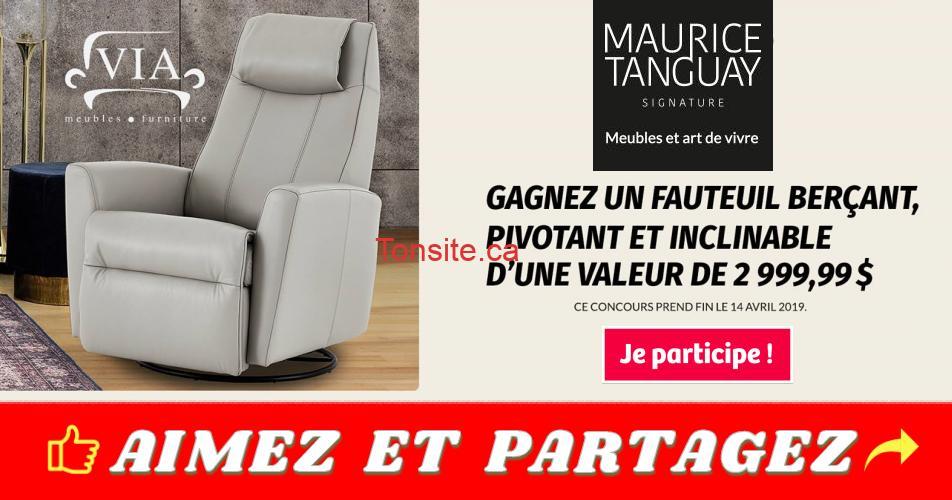 maurice tanguay concurs2 - Concours Maurice Tanguay: Gagnez un fauteuil berçant pivotant et inclinable (valeur de 3000$)