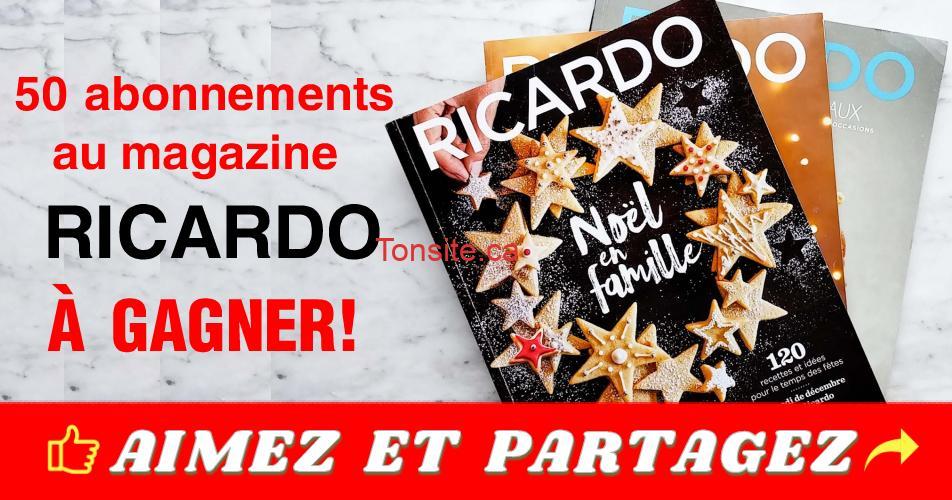 ricardo abonnements 50 - Gagnez 1 des 50 abonnements au magazine Ricardo