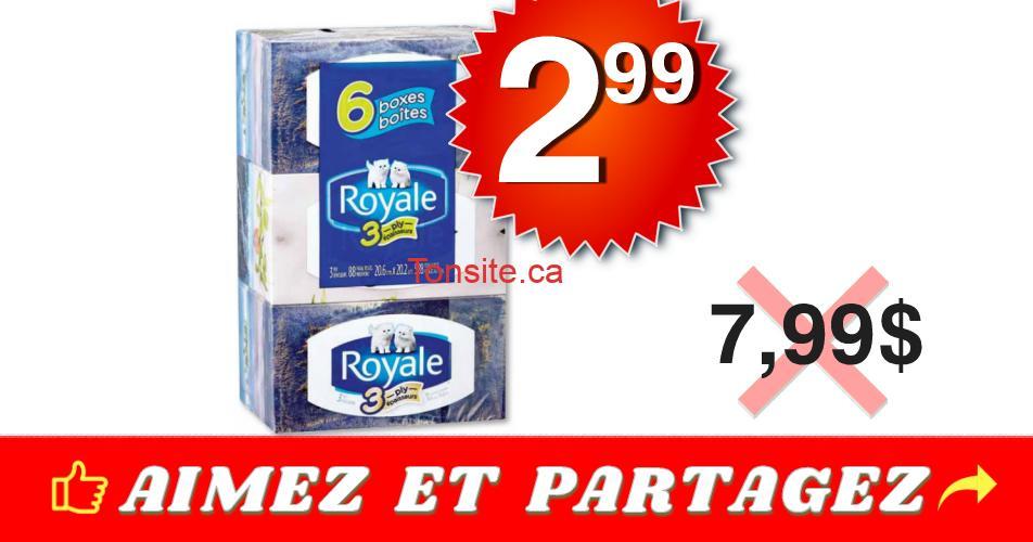 royale 299 799 3plis - Emballage de 6 boîtes de papier mouchoirs Royale à 2,99$ au lieu de 7,99$