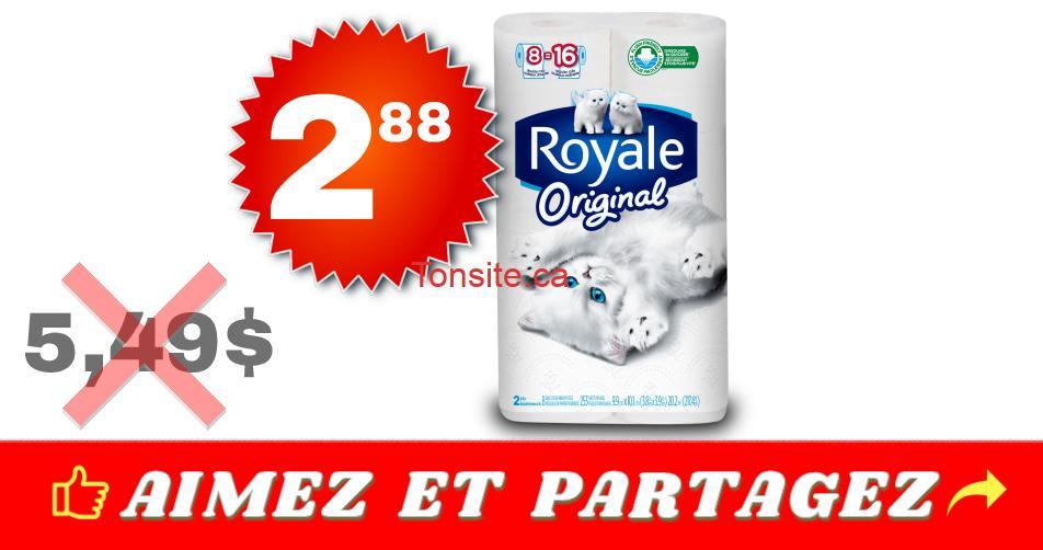 royale original 8 288 549 - Emballage de 8 rouleaux doubles de papier hygiénique Royale Original à 2,88$ au lieu de 5,49$