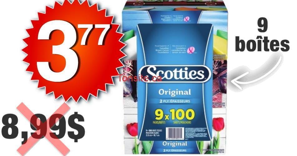 scotties 377 899 - Emballage de 9 boîtes de papier mouchoirs Scotties à 3,77$ au lieu de 8,99$