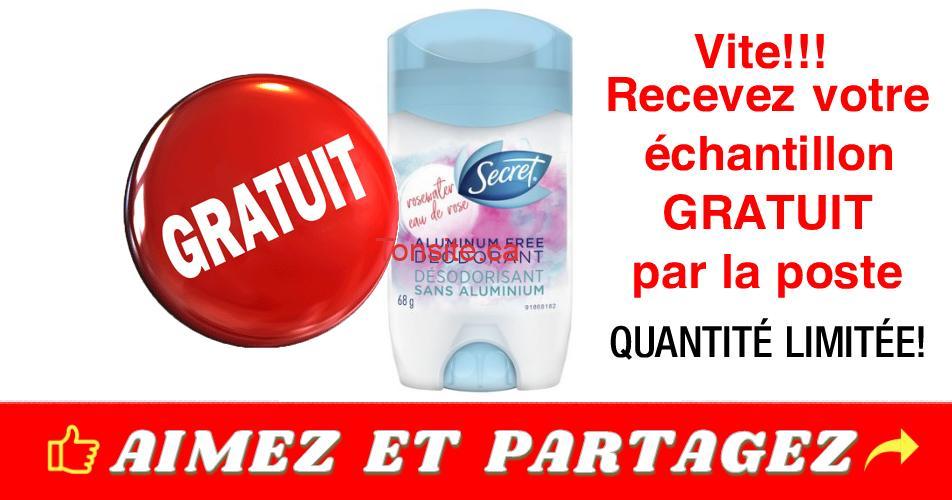 secret echantillon - GRATUIT: Obtenez un échantillon GRATUIT du déodorant Secret sans aluminium