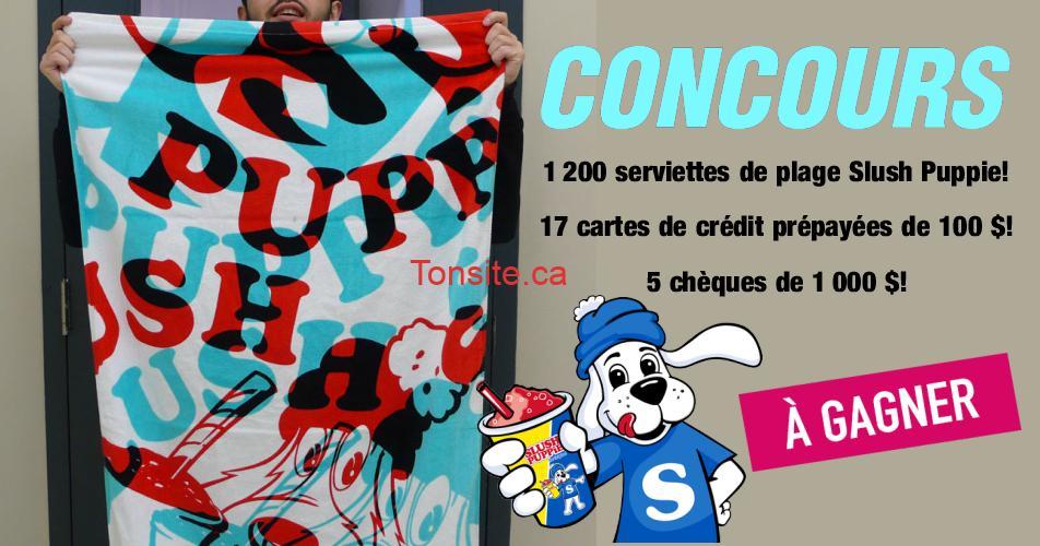 slush puppie concours1 - Concours: 1200 serviettes de plage Slush Puppie, 17 cartes de crédit prépayées de 100$ et 5 chèque de 1000$ à gagner!