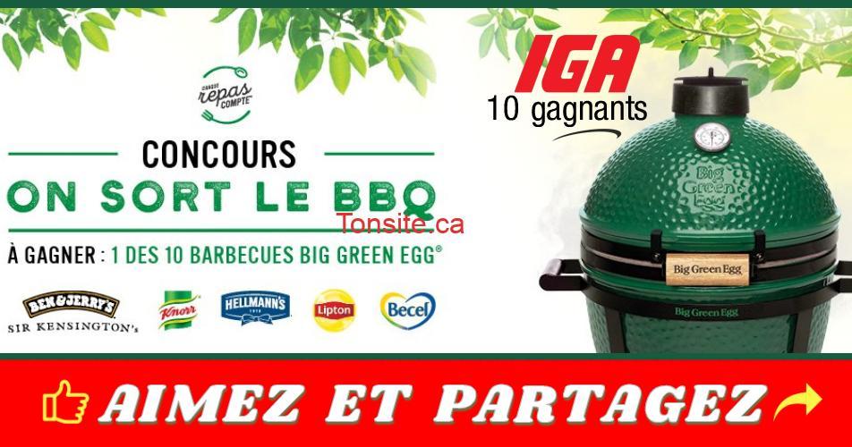 big green egg concours 1 - Concours IGA: Gagnez 1 des 10 barbecues de marque Big Green Egg MiniMax