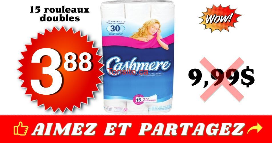 cashmere 388 999 - Emballage de 15 rouleaux doubles de papier hygiénique Cashmere à 3,88$ au lieu de 9,99$