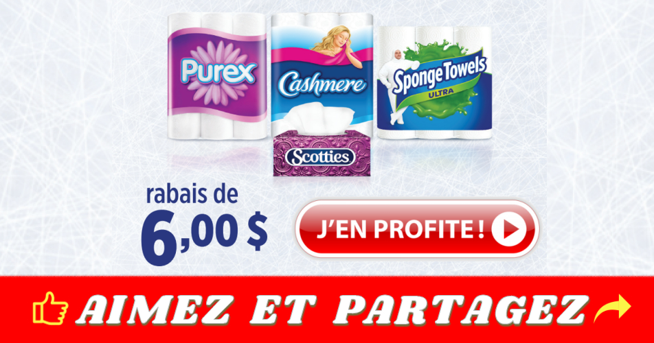 kruger coupon6 - Coupon rabais de 6$ sur les produits Kruger (Cashmere, Purex, Scotties ou Sponge Towels)