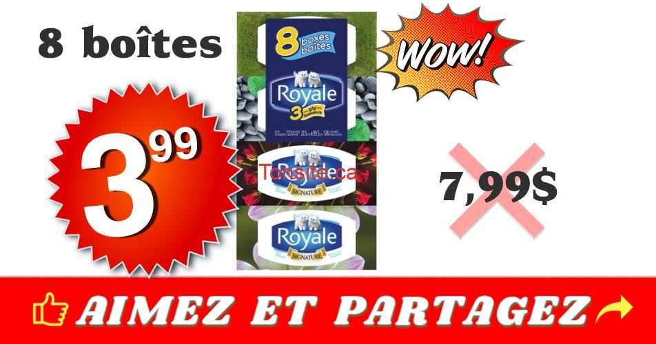 royale 399 799 8 boites - Emballage de 8 boîtes de papier mouchoirs Royale à 3,99$ au lieu de 7,99$