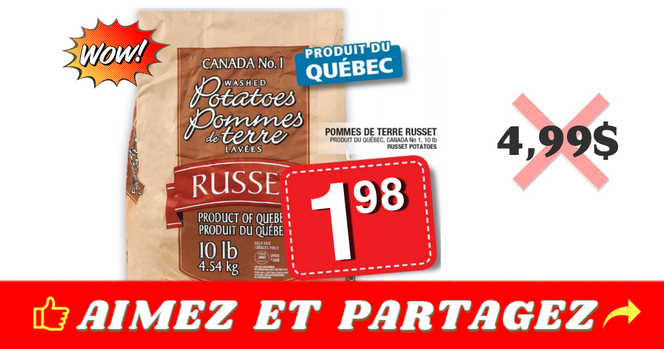 russet 198 499 - Sac de pommes de terre de 10 livres à 1,98$ au lieu de 4,99$ (sans coupon)