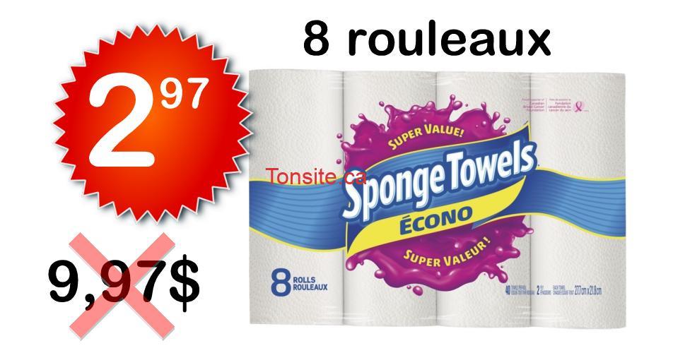 sponge towels econo 297 997 - Emballage de 8 rouleaux de papier essuie-tout Sponge Towels Econo à 2,97$ au lieu de 9,97$
