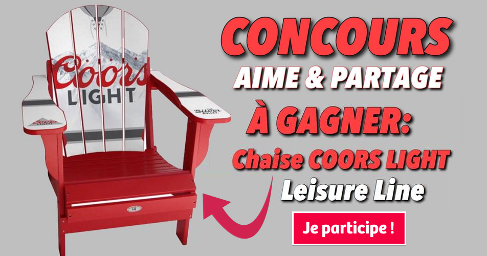 chaise cors light concours - Participez et gagnez une chaise Coors Light Leisure Line
