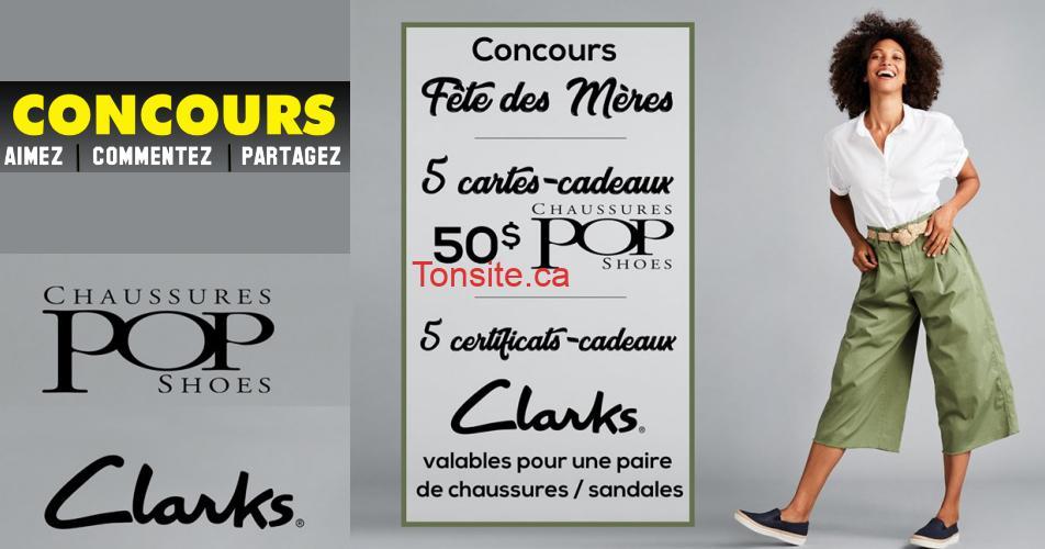 clars chaussures pop concours - Gagnez une carte-cadeau de 50$ de Chaussures Pop et un certificat-cadeau de 50$ échangeable sur chaussures ou sandales CLARKS! (5 gagnants)