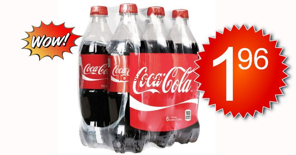 coca cola 196 70ml - Emballage de 6 bouteilles de Coca Cola (710 ml) à 1,96$ au lieu de 5,49$