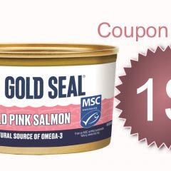 gold seal coupon 240x240 - Coupon rabais de 1$ sur 2 boîtes de saumon rose Gold Seal