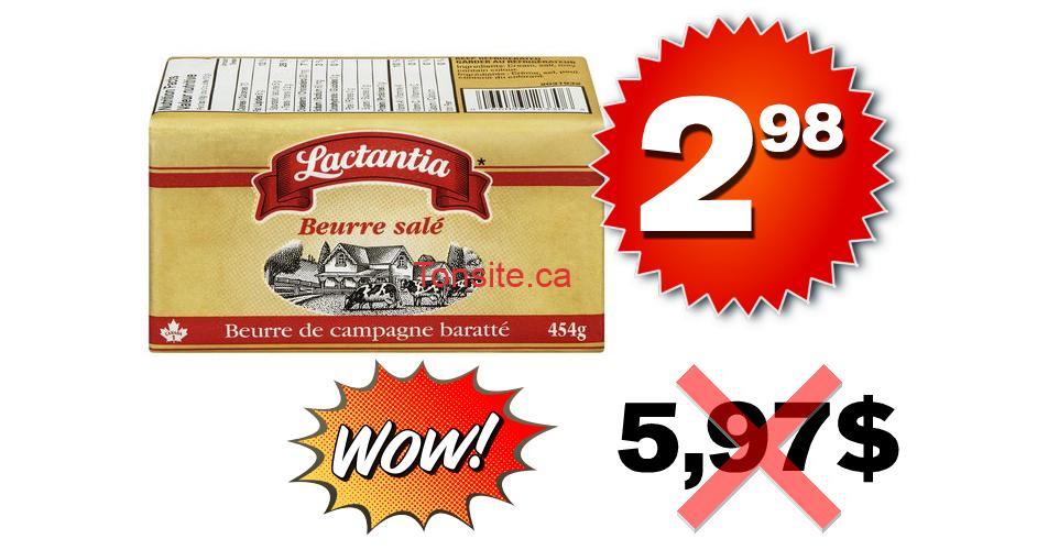 lactantia beurre 298 597 - Beurre salé Lactantia à 2,98$ au lieu de 5,97$ (sans coupon)