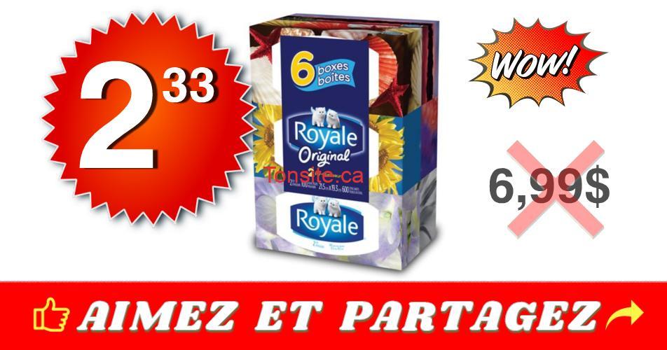 royale 233 699 mouchoirs - Emballage de 6 boîtes de papier mouchoirs Royale à 2,33$ au lieu de 6,99$
