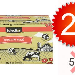 selection beurre 299 598 off 240x240 - Beurre Selection (454 g) à 2,99$ au lieu de 5,98$