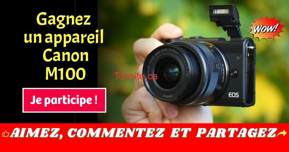canon concours - Participez pour courir la chance de gagner un appareil Canon M100