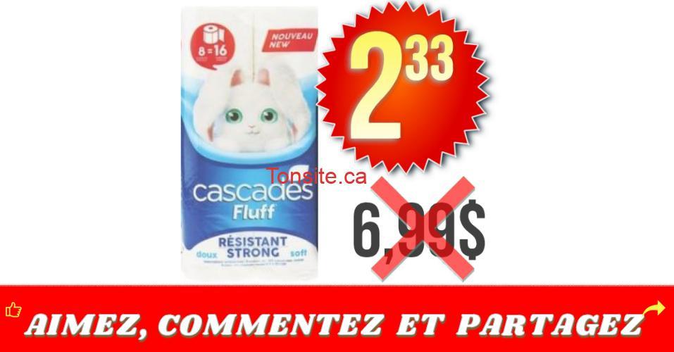 cascades 8 233 - Emballage De 8 Rouleaux Doubles De Papier Hygiénique Cascades Fluff À 2.33$ Au Lieu De 6,99$