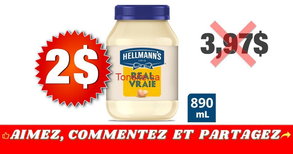 hellmanns 2 397 - Pot de mayonnaise Hellmann's (890 mL) à 2$ au lieu de 3,97$