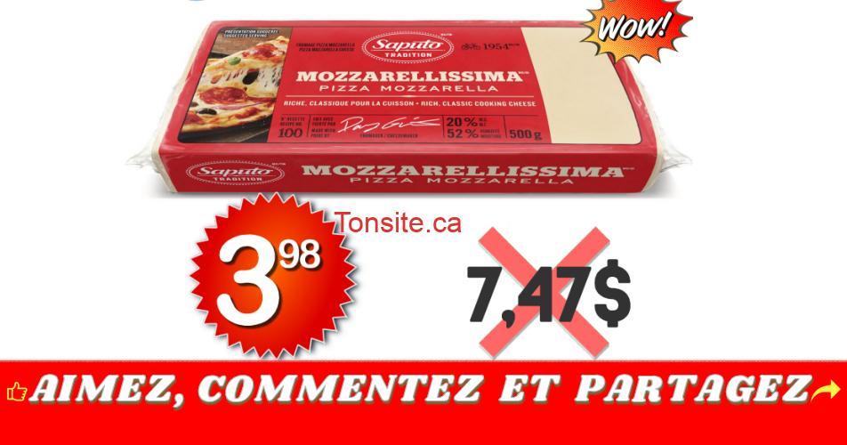 mozza398 747 - Barre de fromage Mozzarellissima Saputo (500 g) à 3,98$ au lieu de 7,47$