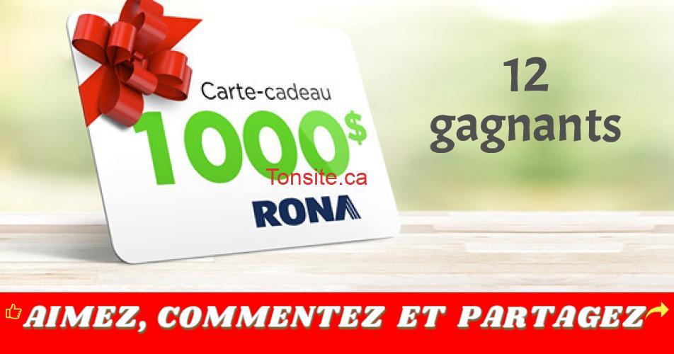 rona 1000 - Participez et gagnez 1 des 12 cartes-cadeaux Rona de 1000$